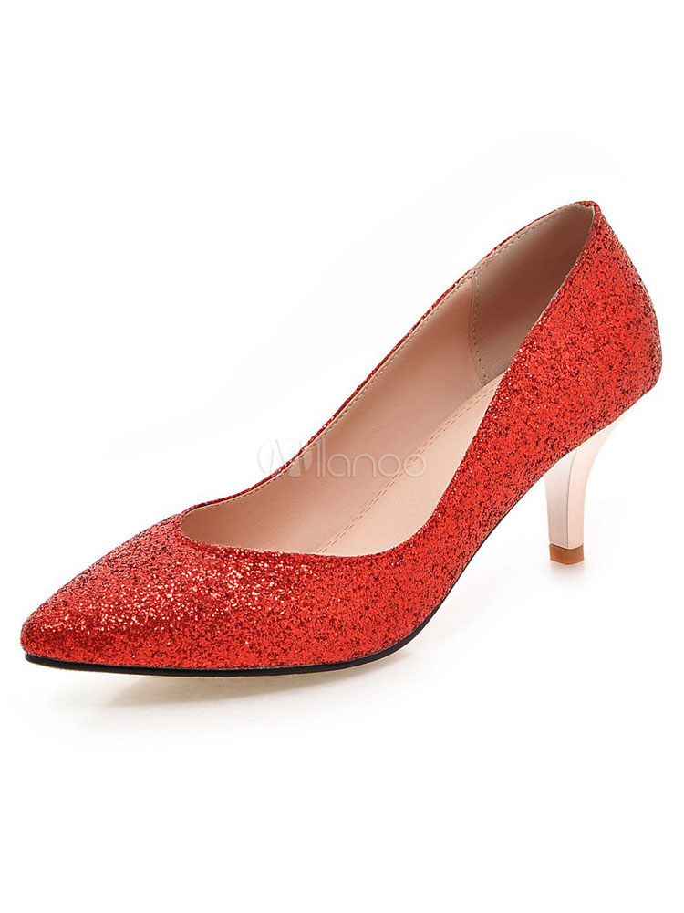 Red Glitter Pumps Pointed Toe Women s Slip On Kitten Heel Pump Shoes-No. ... 515b5143c