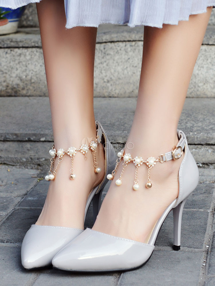 Red High Heels Pointed Toe Women's Pearls Ankle Strap Pump
