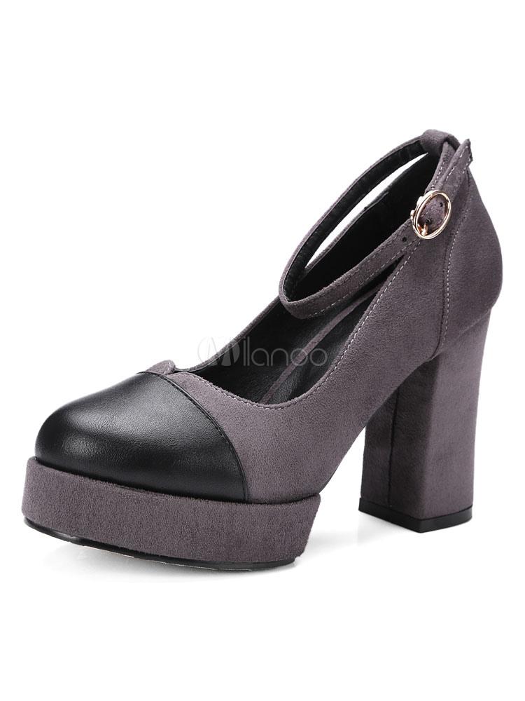 e823ddf364c Suede Chunky Heels Women s Round Cap Toe Ankle Strap Color Block Platform  High Heel Shoes- ...