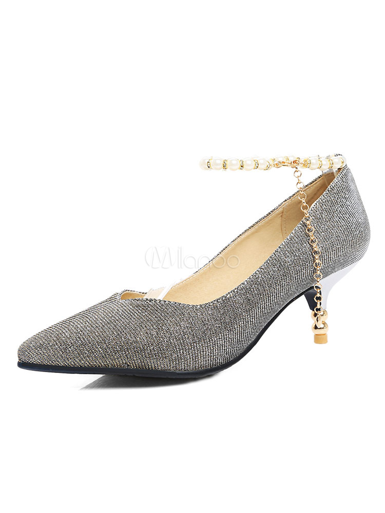 f005f6f7a93 Women s Silver Pumps Pointed Toe Pearls Ankle Strap Sequined Kitten Heel ...