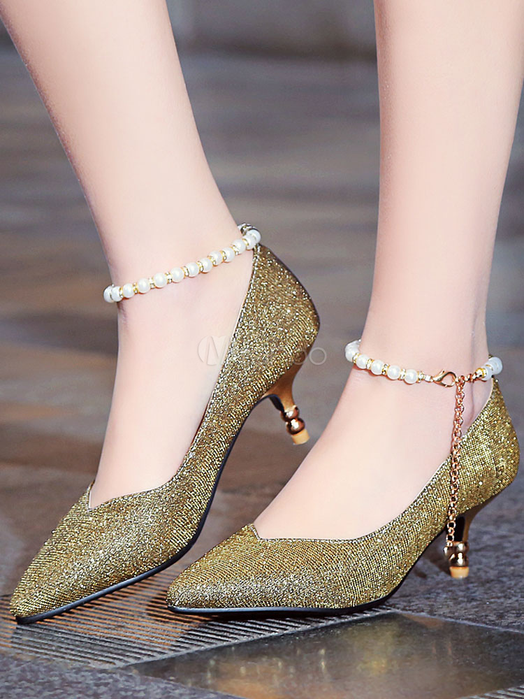 bda82c8b8d2 ... Women s Silver Pumps Pointed Toe Pearls Ankle Strap Sequined Kitten Heel  ...
