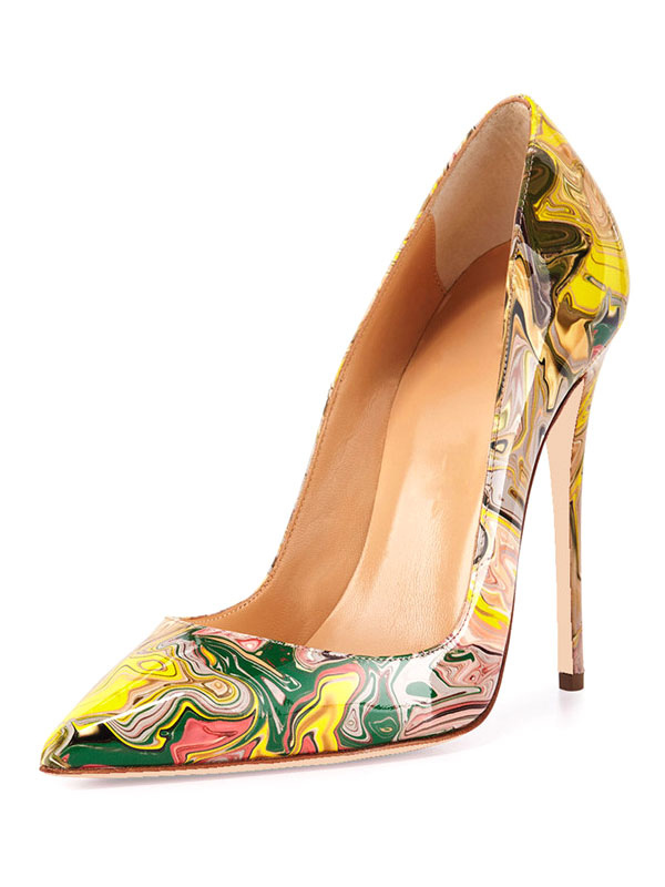 Buy Women High Heels Pointed Toe Artwork Printed Stiletto Heel Slip On Pumps Yellow Dress Shoes for $52.79 in Milanoo store