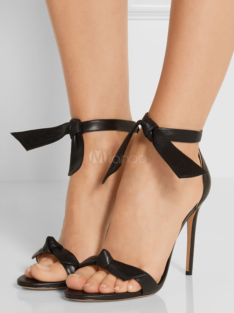 a9bfa3d734f3 High Heel Sandals Black Knot Detail Two Part Block Heel Sandals With Ankle  Strap-No ...