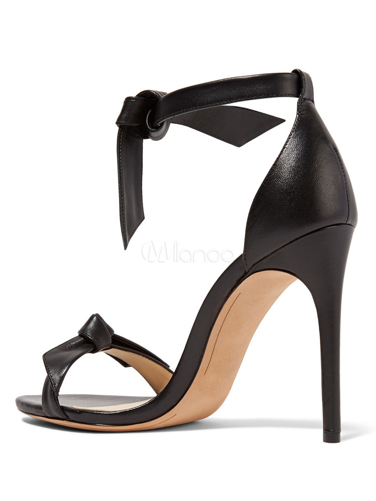 3573ccda1515 ... High Heel Sandals Black Knot Detail Two Part Block Heel Sandals With Ankle  Strap-No