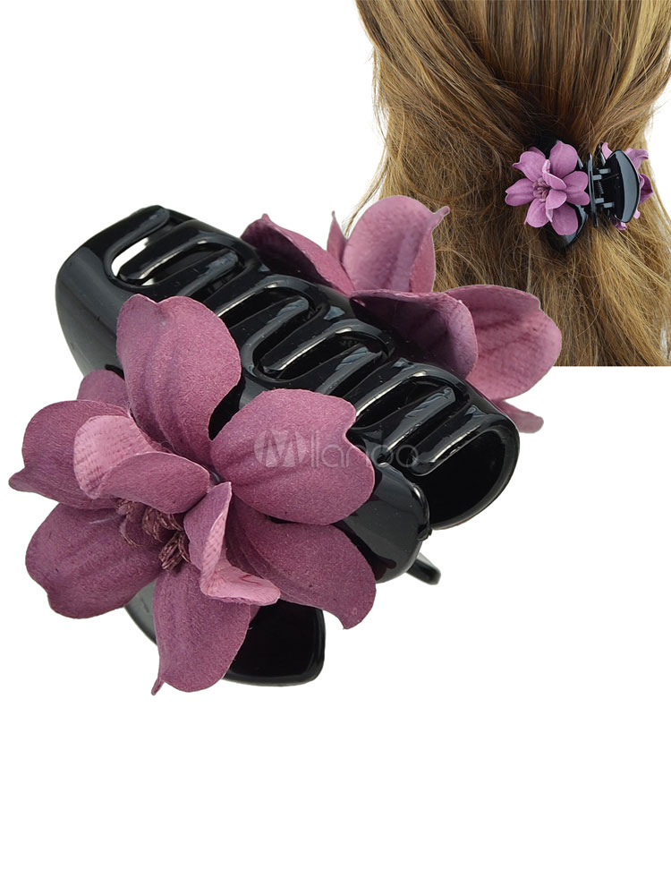 Flowers Claw Clip Pink Women's Plastic Hair Accessories Cheap clothes, free shipping worldwide