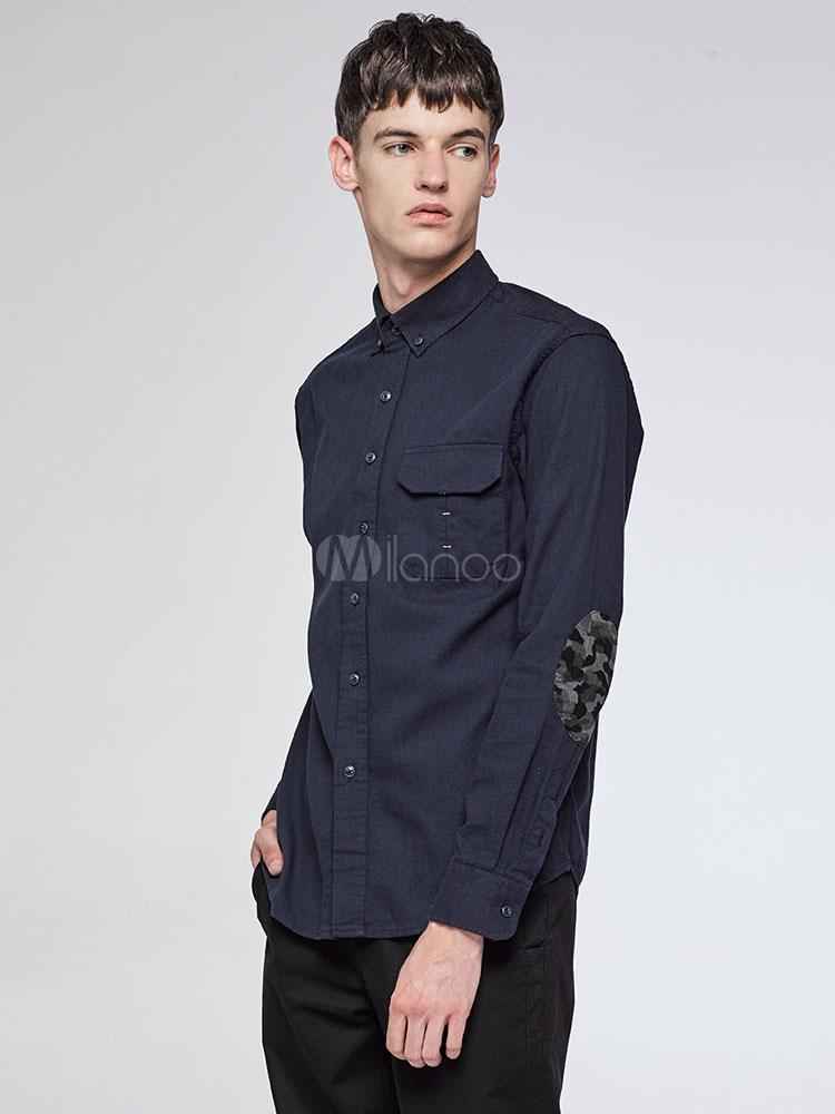 Dark Navy Shirts Men's Long Sleeve Camo Elbow Patch Casual Shirt