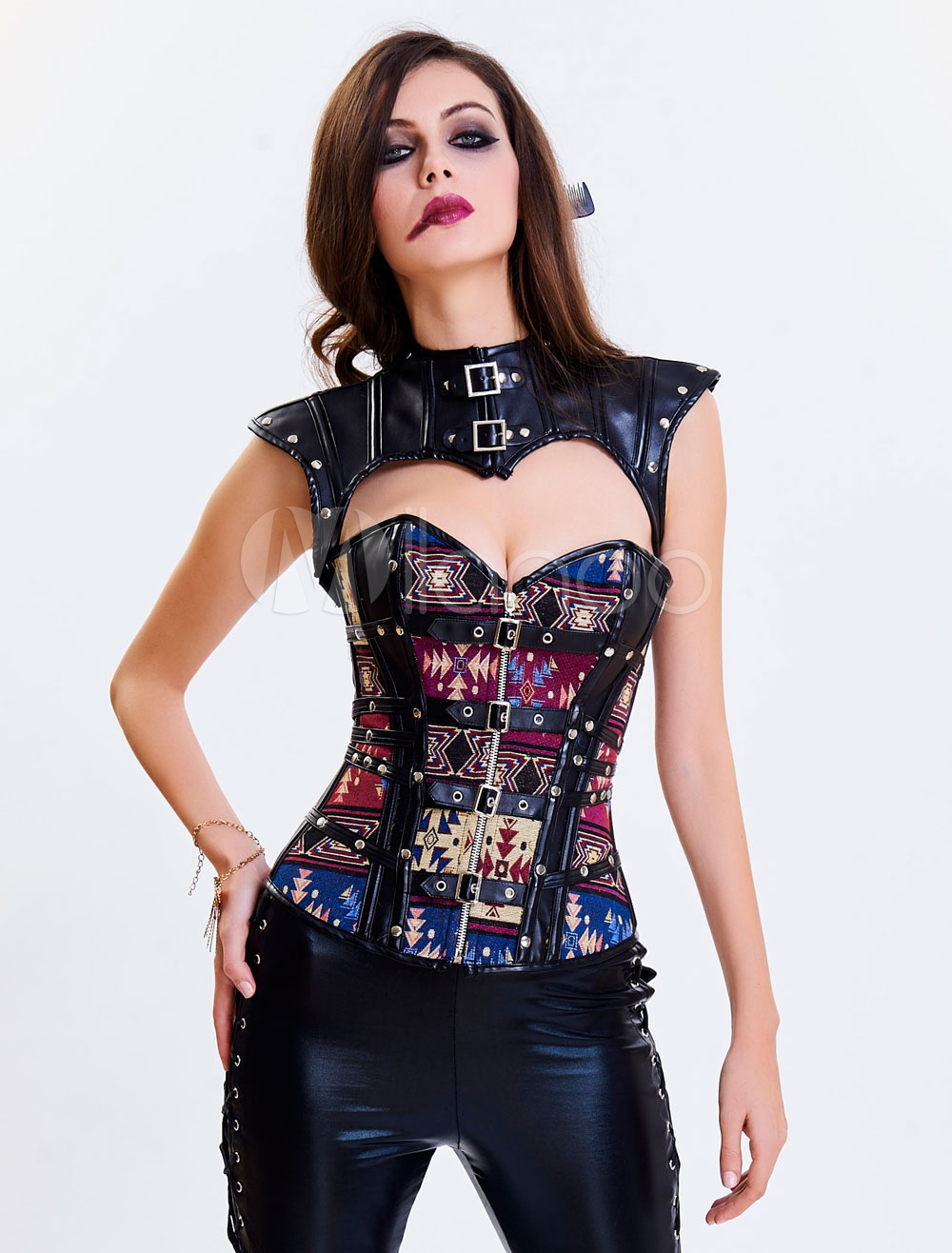 Moto Overbust Corset Sweetheart Neckline Strapless Printed Lace Up Grommets Decor Shaping Corset