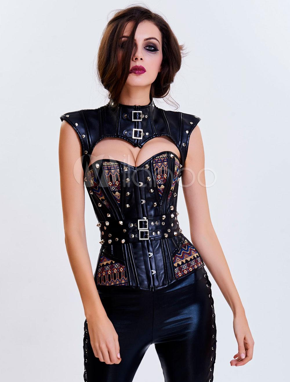Women's Vintage Costume Steampunk Halloween Cutout Rivet Overbust Corset