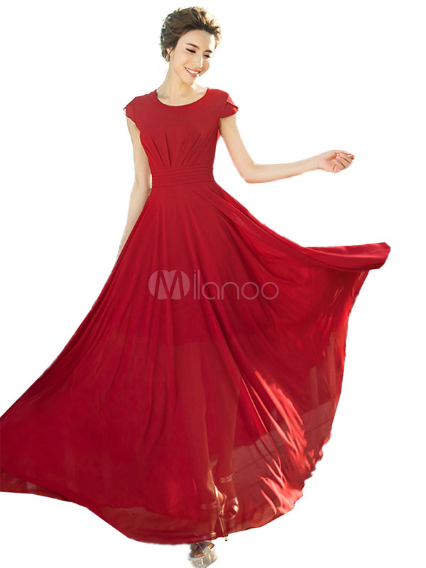 Red Maxi Dress Chiffon Short Sleeve Pleated Slim Fit Long Dress For Women