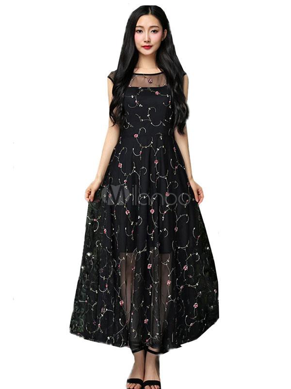 66c8a77331b3 Vestito lungo nero di pizzo con scollo tondo smanicato con pizzo modellante  a rete -No