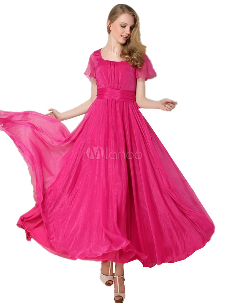 7d183ce23 Rosa vermelha de decote quadrado manga curta Boho do chiffon vestido  feminino babados vestido longo drapeado ...