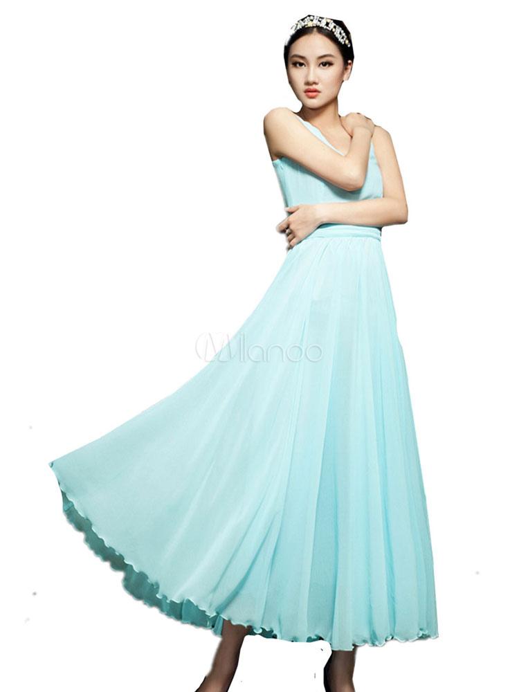 Milanoo / Chiffon Maxi Dress Light Green V Neck Sleeveless Pleated Long Dress For Women