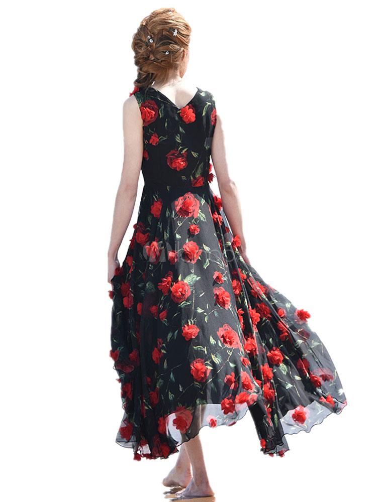 Schickes langes Kleid aus Chiffon mit V-Ausschnitt und ...