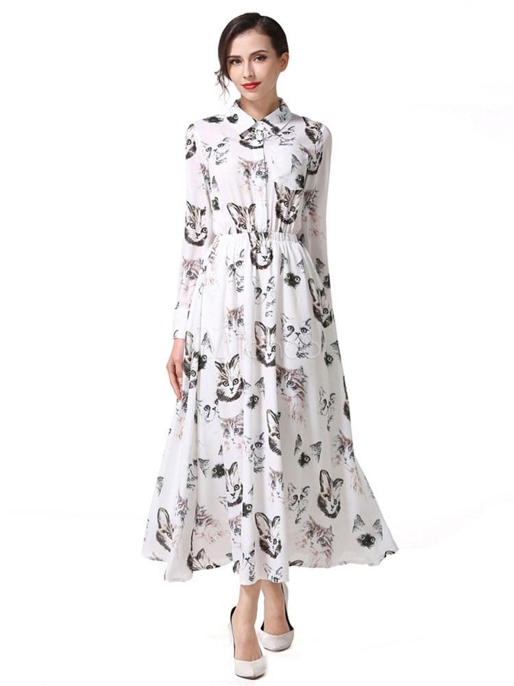 Chiffon Maxi Dress White Turndown Collar Long Sleeve Kitten Printed Drawstring Pleated Long Dress Cheap clothes, free shipping worldwide