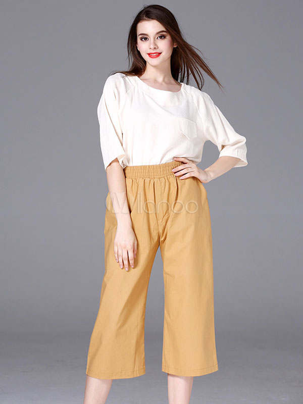 46f55c6a9f3 Constrast 2 Piece Set Women's White Round Neck Half Sleeve Top With Ginger  Wide Leg Pants