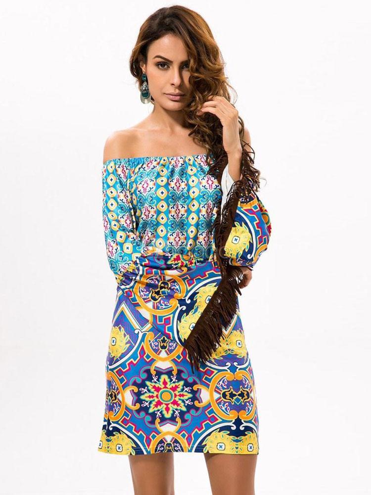 dcb3776f1 Boho Summer Dress Off The Shoulder Long Sleeve Fringe Artwork Printed Beach  Dress-No.