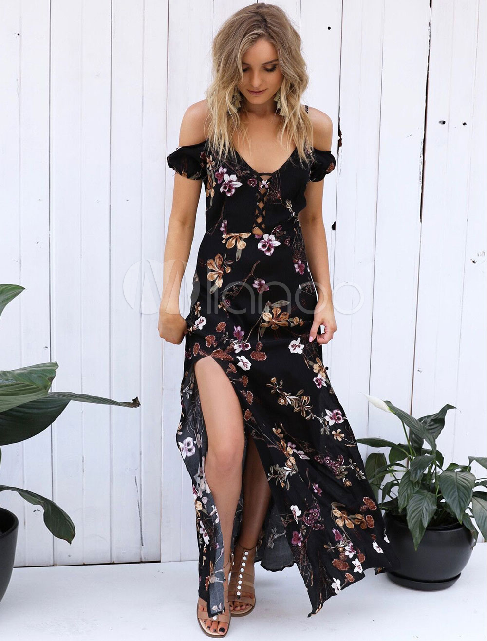 ed18d40bdf5 Bohemian Maxi Dress Women s Floral Print Split Lace Up Straps Summer ...