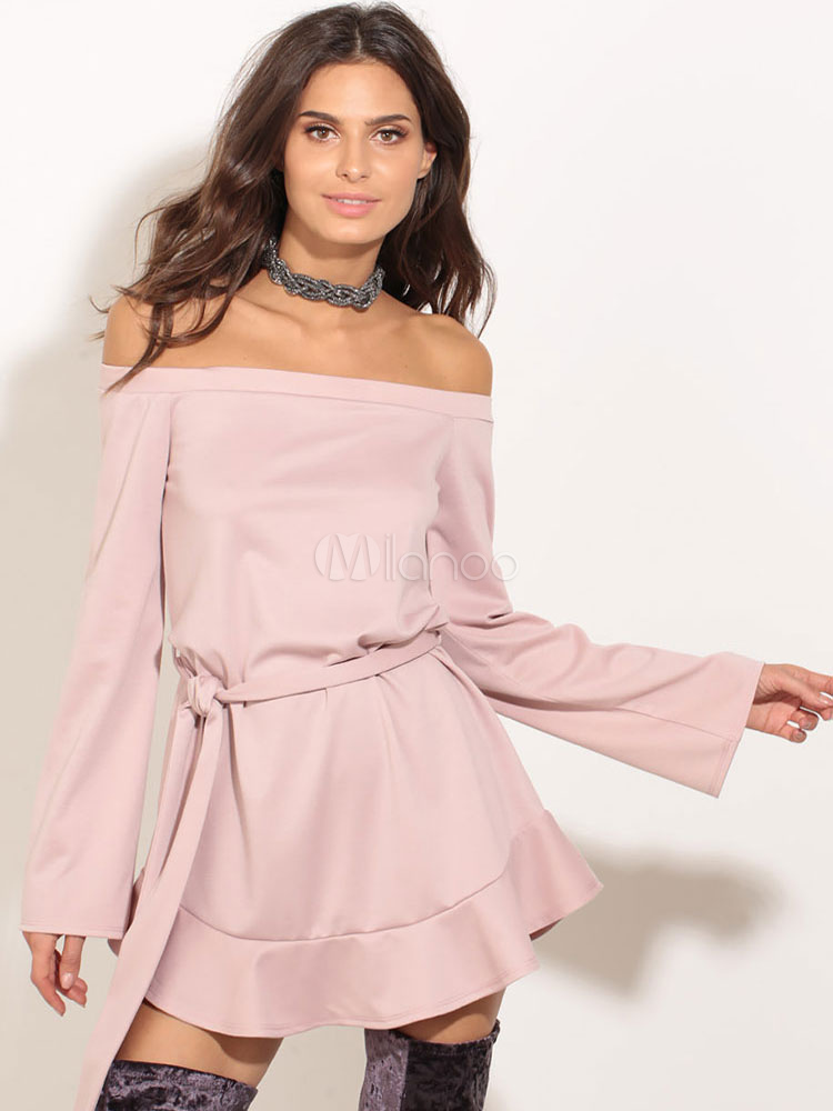 Pink Summer Dress Women s Off The Shoulder Long Sleeve Skater Dress With ... ac458c384