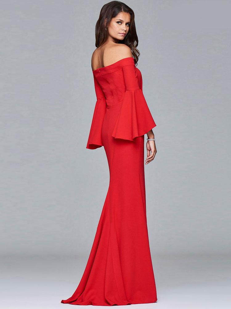 e1d1242a0 ... Vestido largo de fibra sintética rojo con escote de hombros caídos Color  liso con volantes con ...