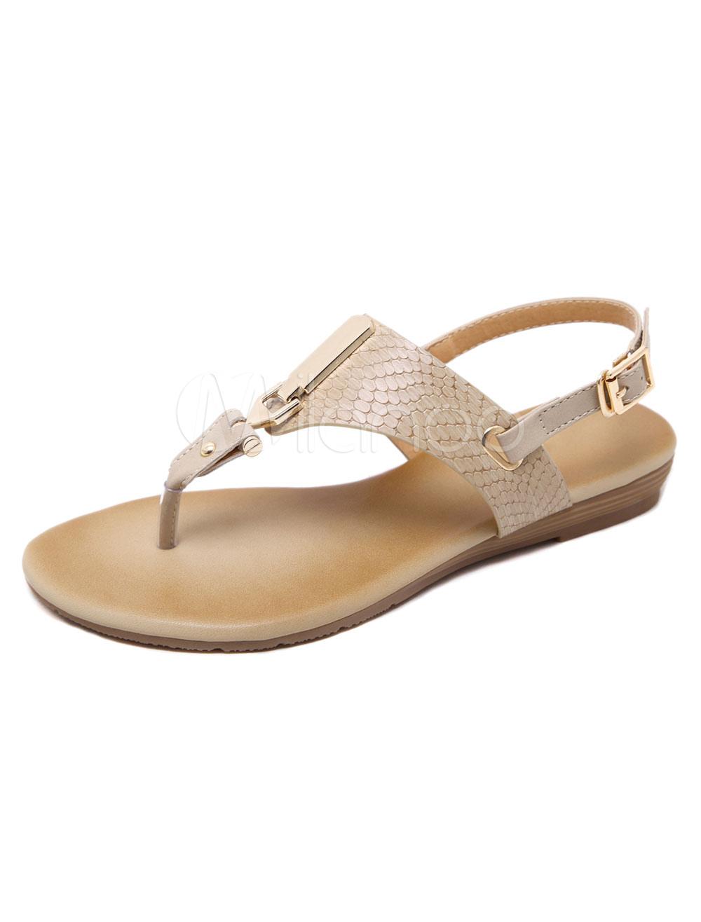 Buy Flip Flop Sandals Women Flat Sandals Thong Metal Detail Slingbacks Sandal Shoes for $23.74 in Milanoo store