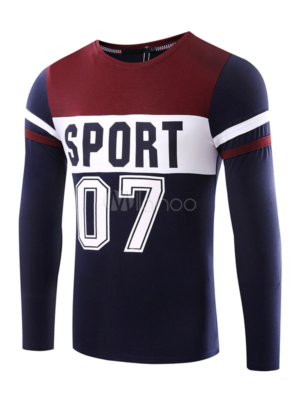 Buy Men's T Shirt Dark Navy Long Sleeve Round Neck Printed Regular Fit Cotton T Shirt for $17.99 in Milanoo store