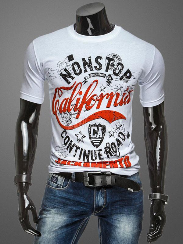 Men's White T Shirt Short Sleeve Round Neck Printed Cotton T Shirt