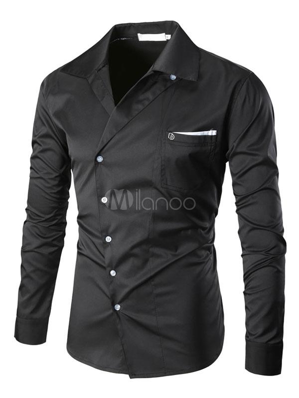 Men's Black Shirt Turndown Collar Long Sleeve Regular Fit Casual Shirt