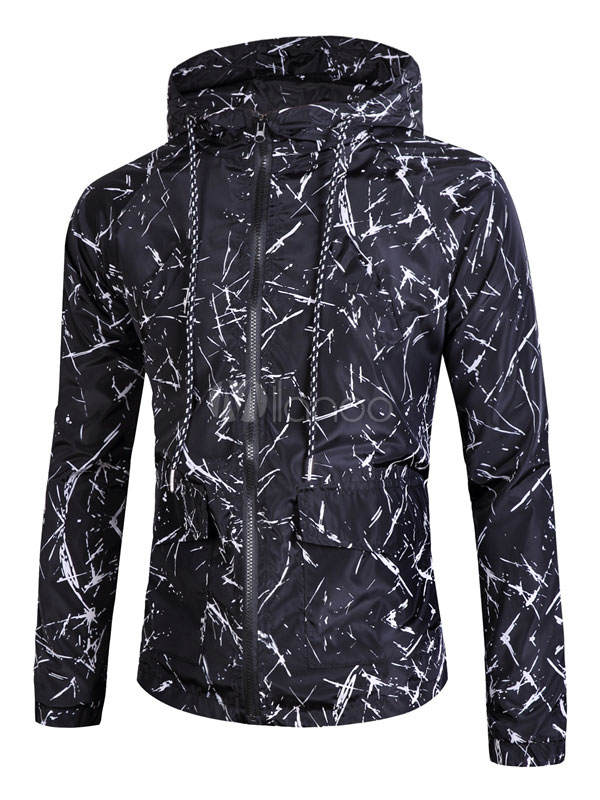 Buy Black Windbreaker Jacket Men's Hooded Long Sleeve Printed Drawstring Zip Up Lightweight Jacket for $29.69 in Milanoo store