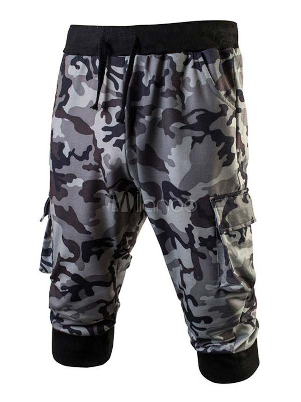 Men Jogger Shorts Hunter Green Camo Printed Drawstring Sweat Shorts