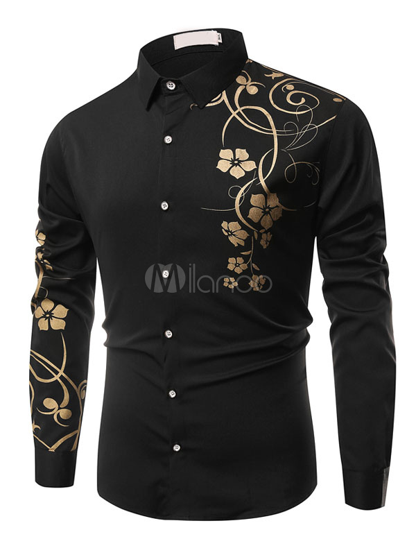 Men's Black Shirt Turndown Collar Long Sleeve Floral Printed Casual Shirt