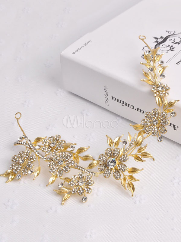 Buy Gold Wedding Headpieces Baroque Style Retro Leaf Headband Beaded Bridal Hair Accessories for $23.74 in Milanoo store