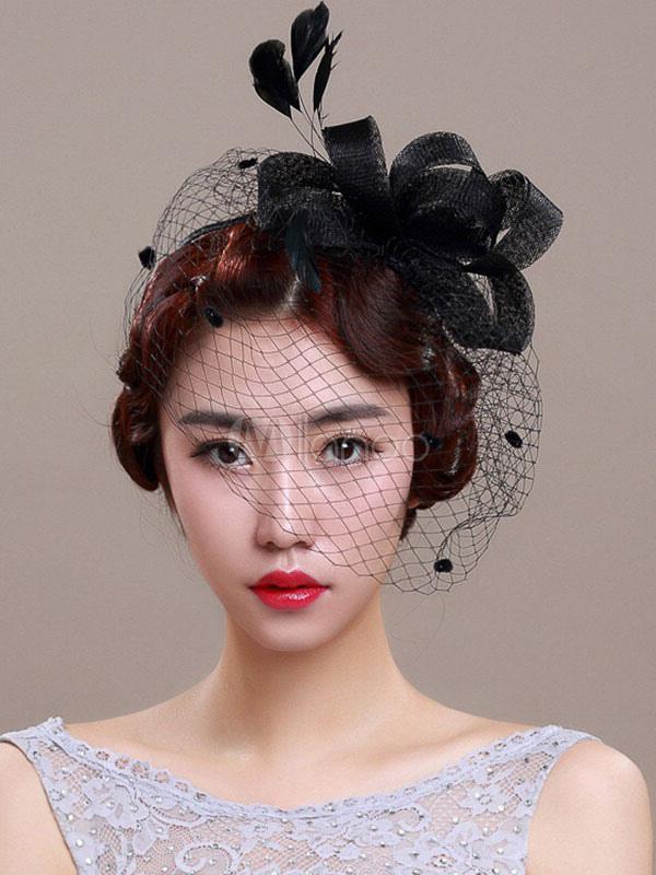 Buy Royal Wedding Fascinator Headband Black Birdcage Veil Feather Bridal Headpieces for $14.24 in Milanoo store