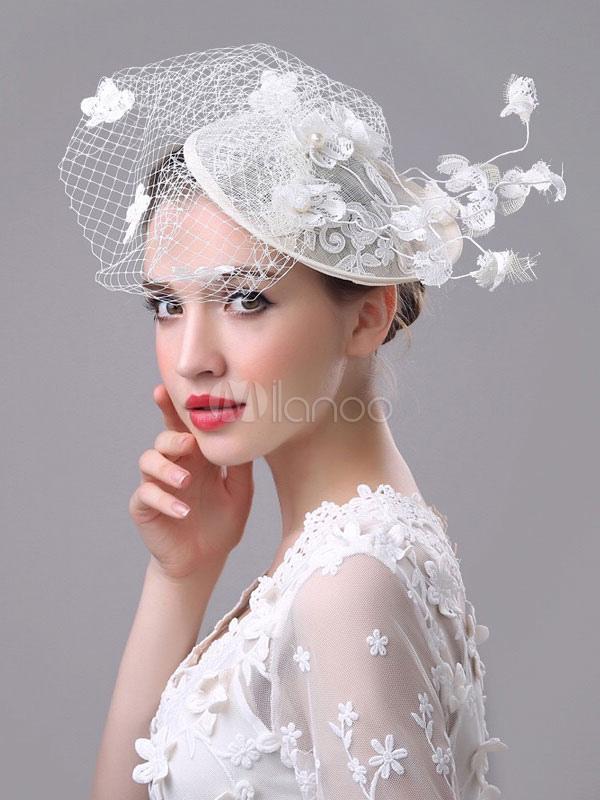 White Wedding Fascinator Hat Royal Birdcage Veil Flowers Applique Retro  Bridal Headpieces-No.1 ... abe4097eed8