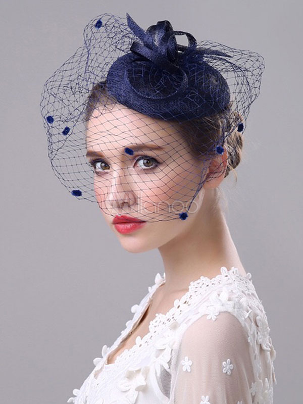 Vintage Wedding Fascinator Royal Birdcage Veil Ink Blue Bridal Headpieces