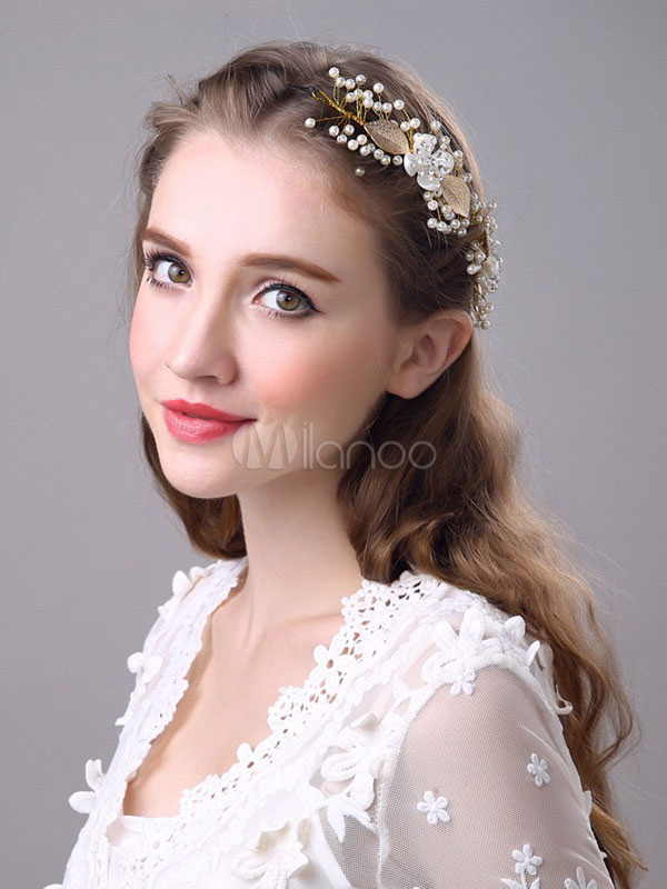 Pearls Wedding Headpieces White Beaded Leaf Hairband Bridal Hair Accessories