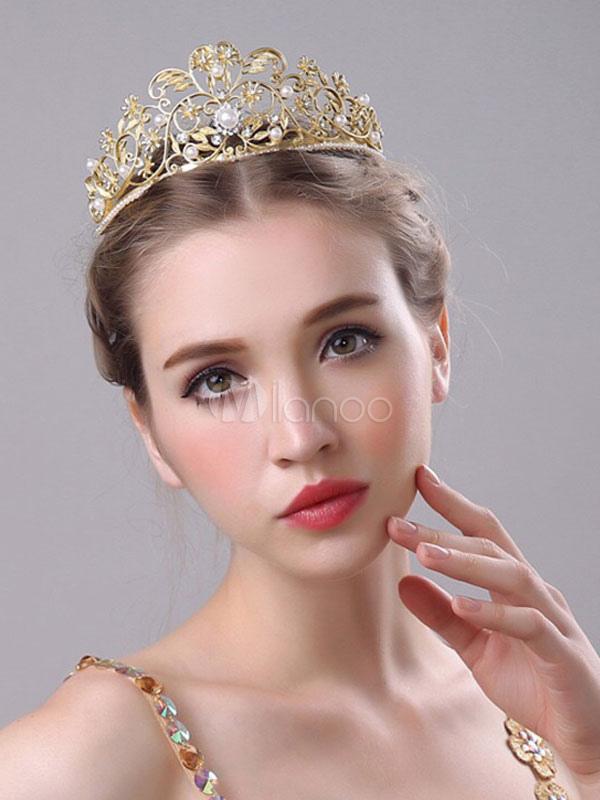 Goldene Hochzeit Diadem Retro Barock Königliche Braut Krone