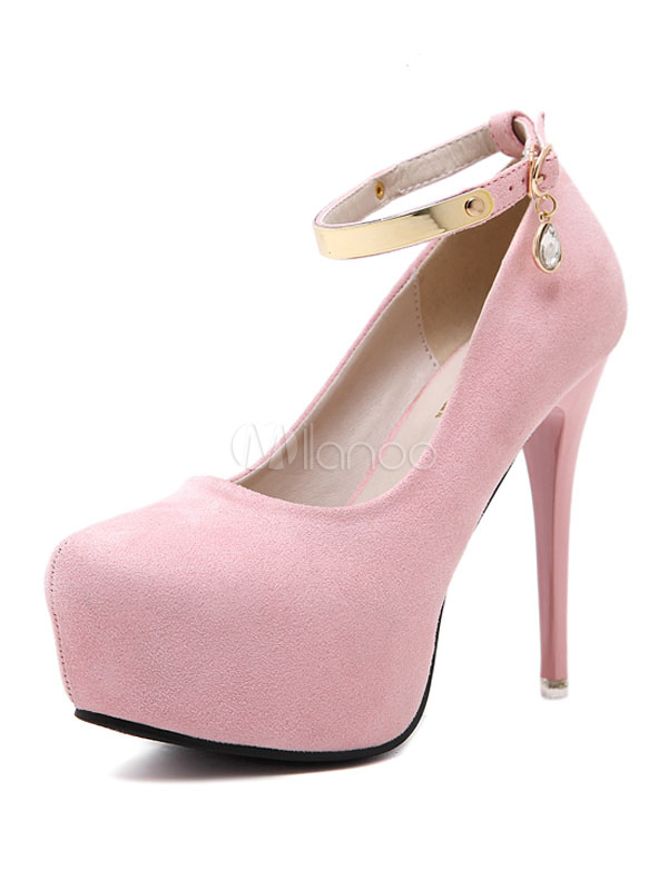 c72ebce595a Suede Pink Pumps Women's Almond Toe Ankle Strap Platform Stiletto Metallic  Detail Rhinestone High Heels