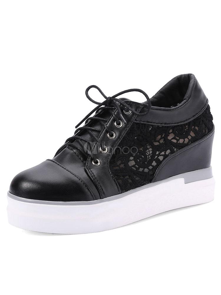 d83d456174fb Black Wedge Pumps Women s Round Toe Lace Up Patchwork Platform High Hidden  Heel Shoes-No ...