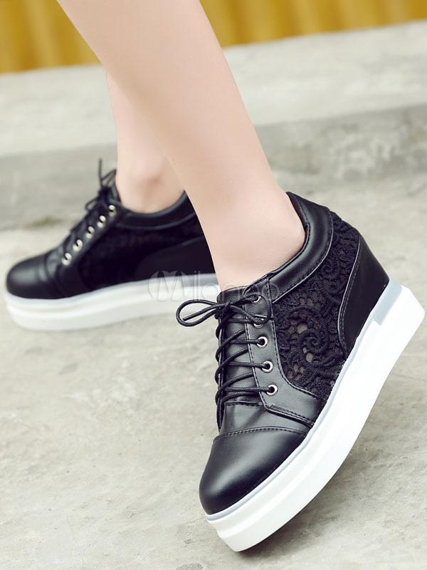 e976d1f29ce4 ... Black Wedge Pumps Women s Round Toe Lace Up Patchwork Platform High  Hidden Heel Shoes-No ...