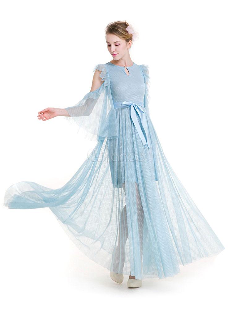 2a97faf3e3 Vestido largo de organza de celeste claro con escote redondo Color liso con  cordones con 3 ...