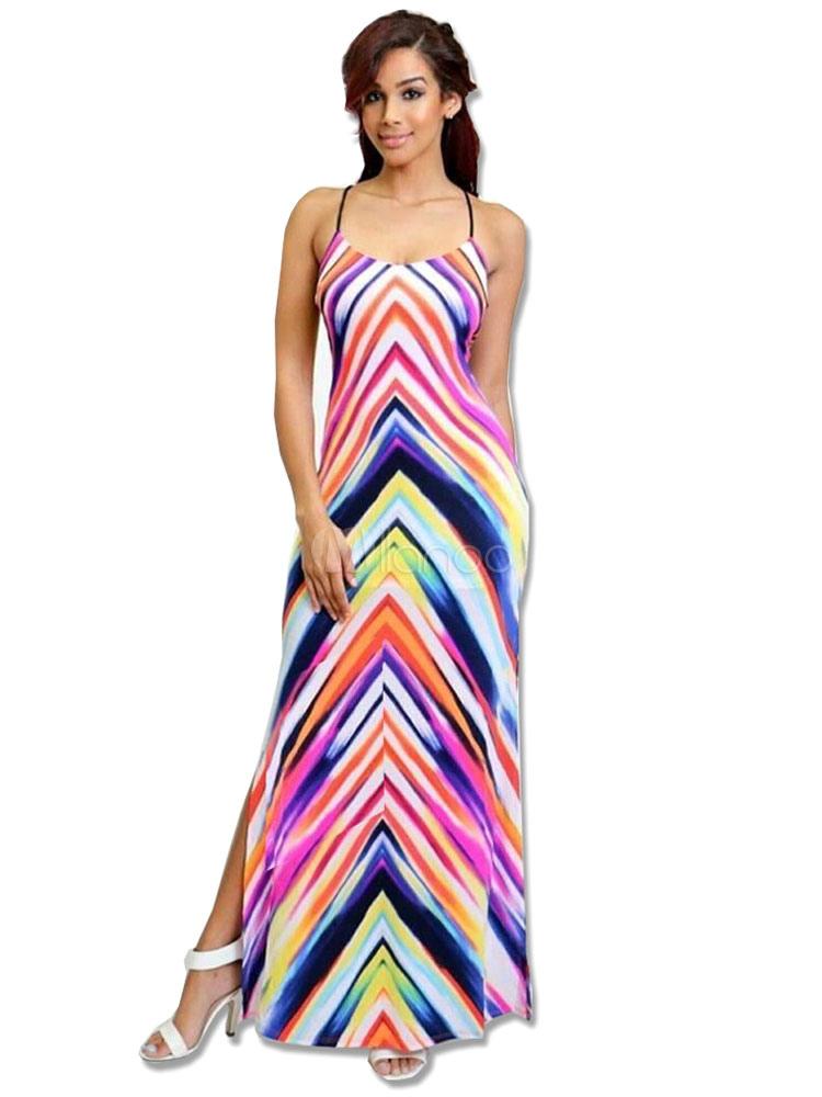 6d3a6ae17 Vestido largo de fibra sintética rosa con tirantes con dibujo geométricos  estampado sin mangas estilo bohemio ...