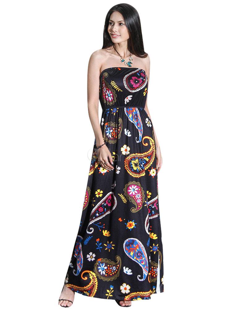 robe longue soie de lait color block imprim fleuri bustier. Black Bedroom Furniture Sets. Home Design Ideas