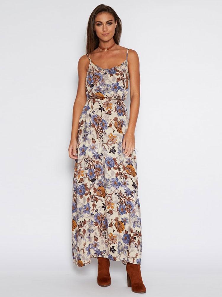 Buy Boho Maxi Dress Tan Strappy Sleeveless Drawstring Floral Printed Long Dress for $27.19 in Milanoo store