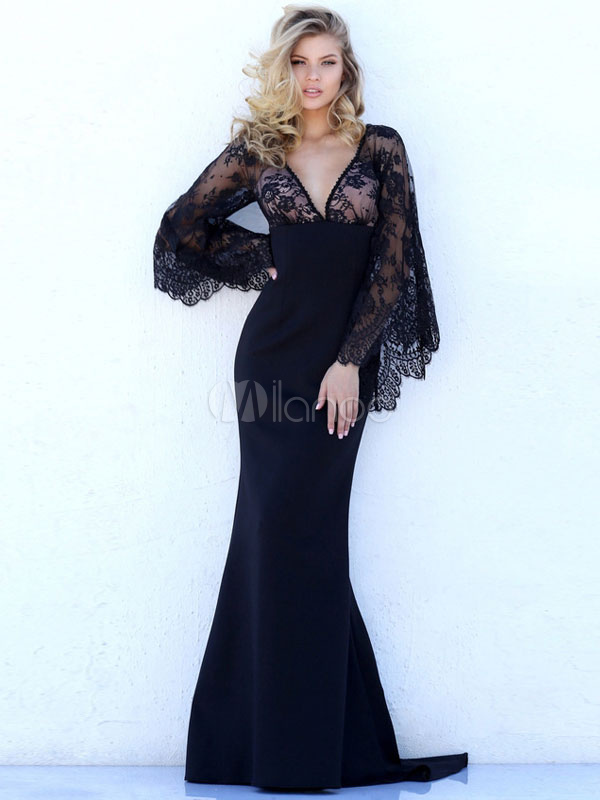 Buy Sexy Maxi Dress Black V Neck 3/4 Length Sleeve Lace Patchwork Mermaid Long Dress for $27.99 in Milanoo store