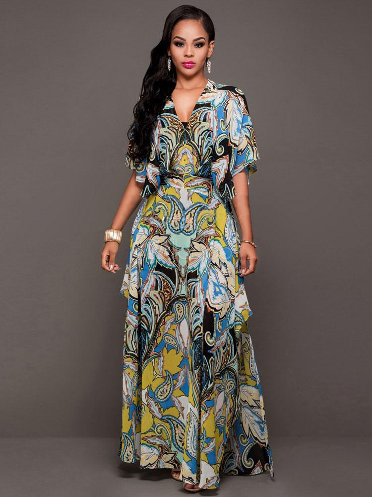 Buy Chiffon Maxi Dress Boho Multicolor V Neck Half Sleeve Printed Asymmetrical Long Dress For Women for $30.40 in Milanoo store