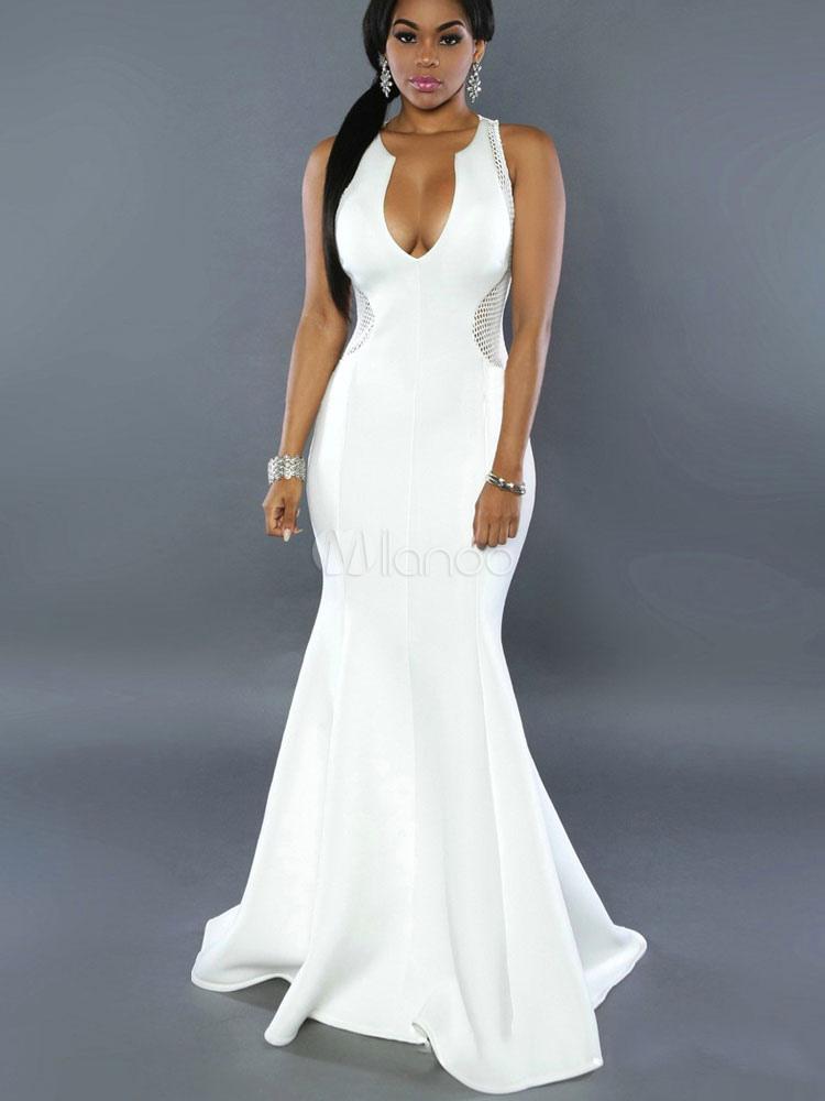 White Club Dress Women's Plunging Neckline Sleeveless Net Semi Sheer Mermaid Maxi Dress Cheap clothes, free shipping worldwide