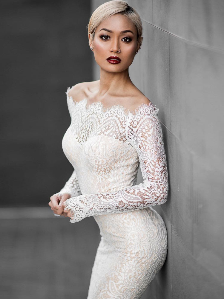 3613bceb1a9d ... Sexy Lace Dress White Mermaid Off The Shoulder High Low Bodycon Dress-No.2  ...