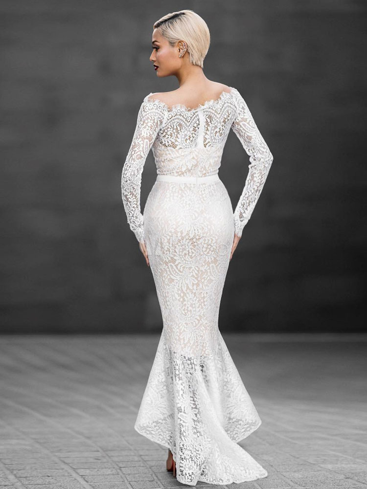 Sexy Lace Dress White Mermaid Off The Shoulder High Low Bodycon ...