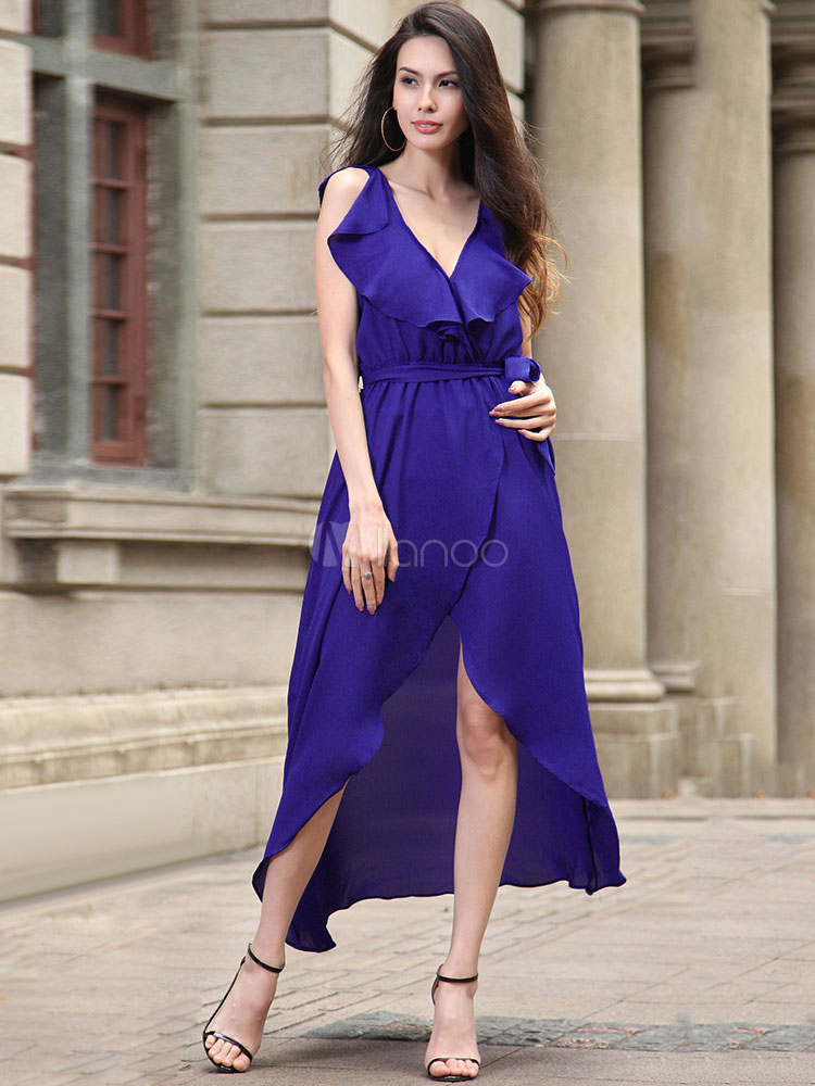 Buy Purple Maxi Dress Chiffon Ruffle V Neck Sleeveless Lace Up Asymmetrical Summer Dress for $28.49 in Milanoo store