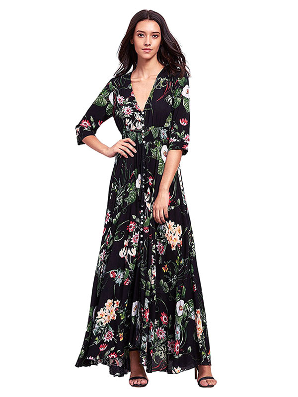 Buy Black Maxi Dress Chiffon V Neck 3/4 Length Sleeve Floral Printed Slit Long Dress for $35.99 in Milanoo store